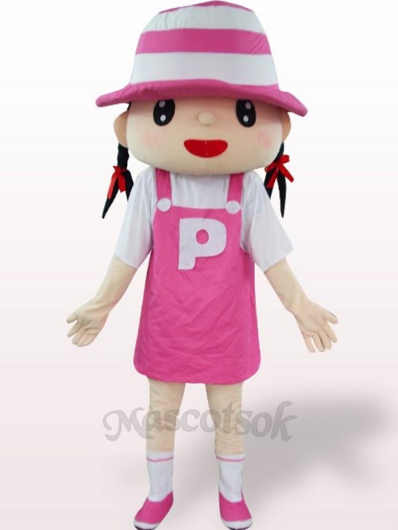 Pink Hat Girl Plush Adult Mascot Costume