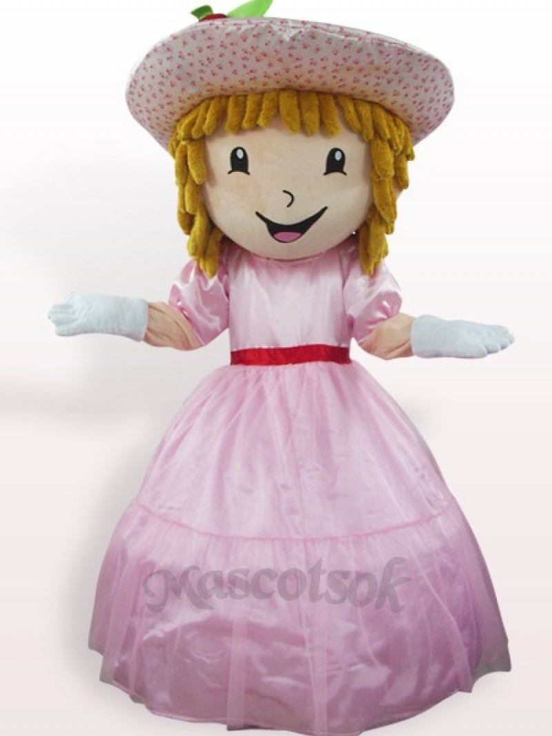 Pink Strawberry Shortcake Girl Plush Adult Mascot Costume