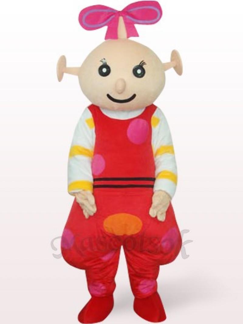 Red Female Beibei Plush Adult Mascot Costume