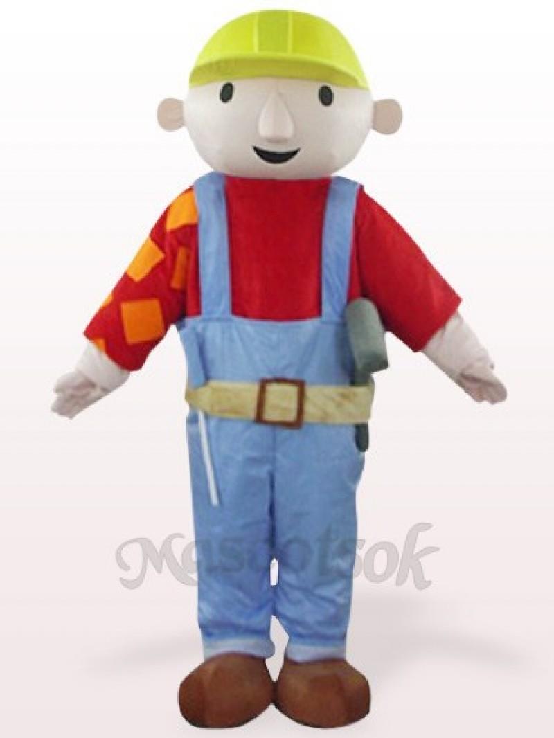 Red Maintenance Worker Bab Plush Mascot Costume