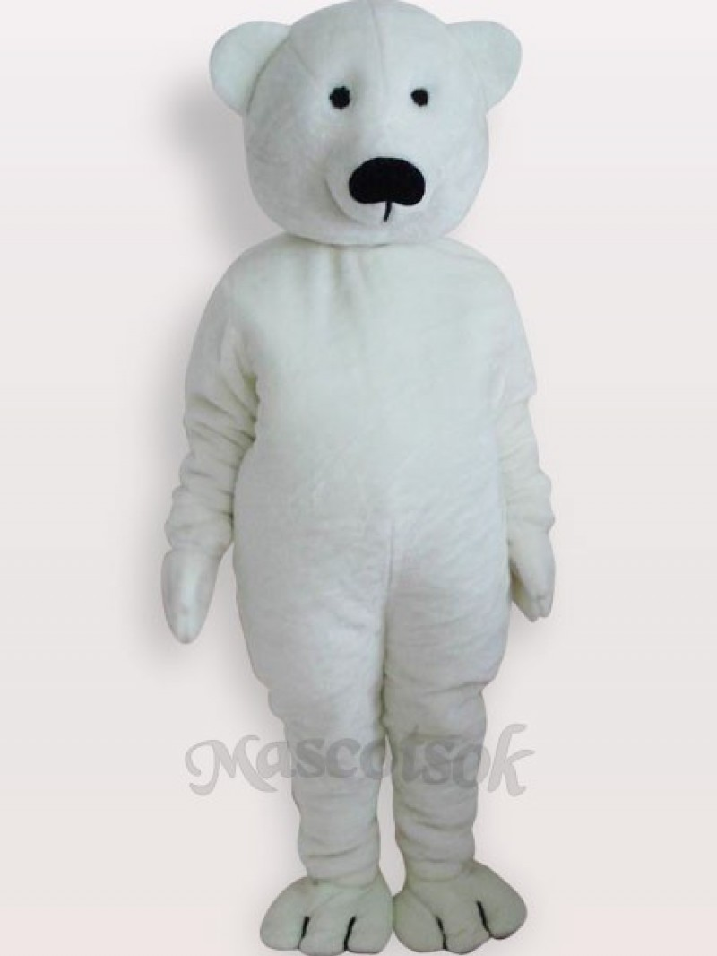 White Bear Short Plush Adult Mascot Costume