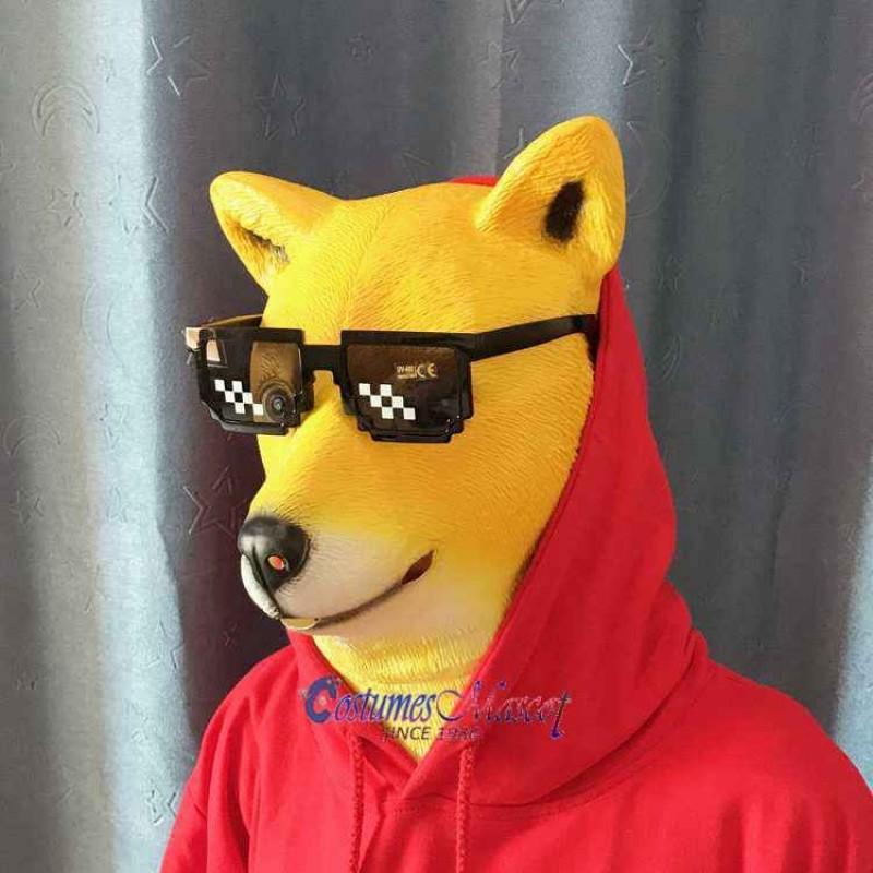 Latex Shiba Inu Dog Mask Full Head Animal Mask Cosplay