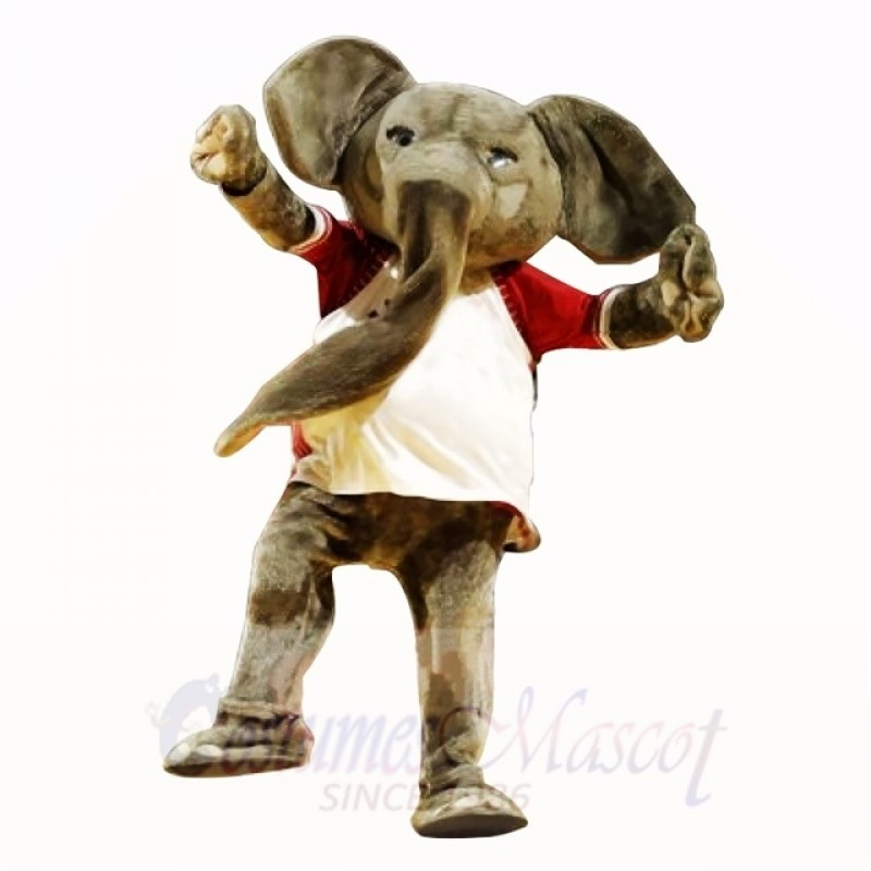 Sport Elephant with White Shirt Mascot Costumes Adult
