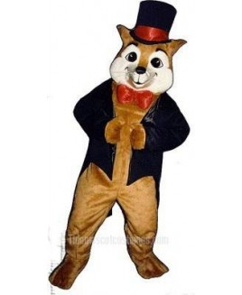 Cute Sly Fox with Hat, Jacket & Bowtie Mascot Costume