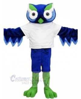 Cute Blue Owl with Green Eyebrow Mascot Costumes Animal