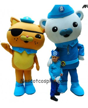 Hot Sale Adorable Realistic New Deluxe Octonauts Movie Captain Barnacles & Kwazii Polar Bear Orange Kitten Mascot Costume