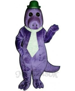 Jake the Saurus with Hat & Tie Mascot Costume
