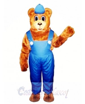 New Billy Bear with Overalls & Hat Mascot Costume
