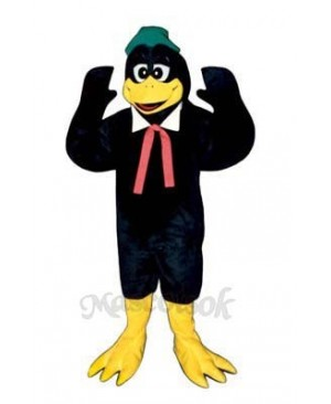 Cute Berry Black Bird with Collar, Hat & Tie Mascot Costume