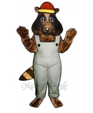 Stevie Raccoon with Bib Overalls & Hat  Mascot Costume