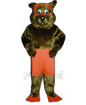 River Otter with Shorts, Fins & Goggles Mascot Costume