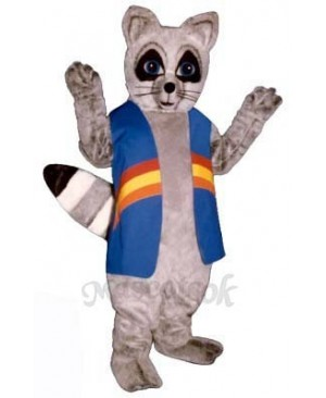 Rainbow Raccoon with Vest Mascot Costume