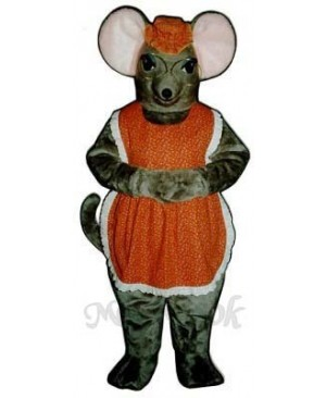 Granny Mouse with Glasses, Hat & Apron Mascot Costume