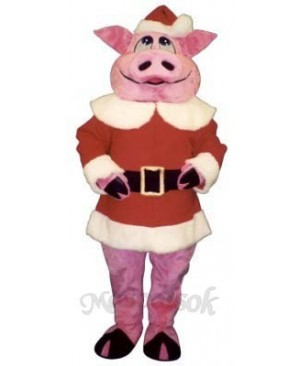 Hog with Santa Coat & Hat Christmas Mascot Costume