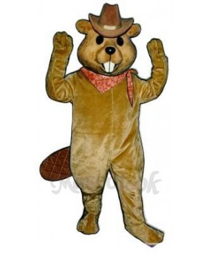 Western Beaver with Hat & Neckerchief Mascot Costume