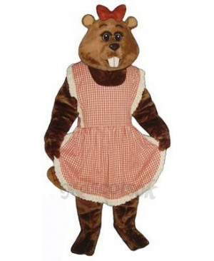 Gloria Beaver with Apron & Bow Mascot Costume