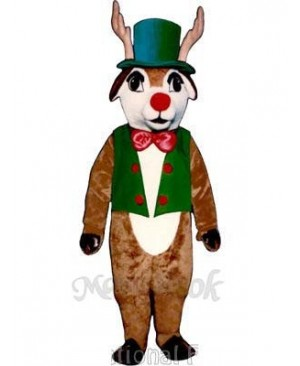 Yuletide Deer w/Vest, Hat & Bowtie Mascot Costume