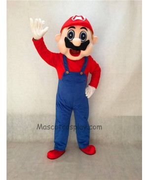 High Quality Mario Adult Mascot Costume with Blue Overalls