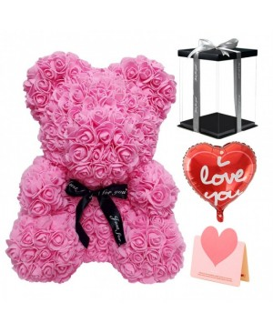 Pink Rose Teddy Bear Flower Bear with Balloon, Greeting Card & Gift Box for Mothers Day, Valentines Day, Anniversary, Weddings & Birthday