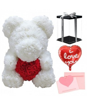 White Rose Teddy Bear Flower Bear with Red Heart with Balloon, Greeting Card & Gift Box for Mothers Day, Valentines Day, Anniversary, Weddings & Birthday