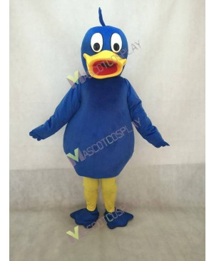 Blue Duck Mascot Costume with Yellow Beak