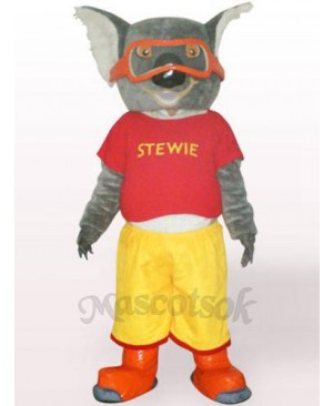 Skiing Koala In Red Clothes Plush Adult Mascot Costume
