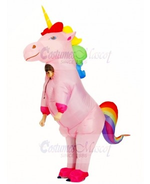 Cute Rainbow Unicorn Horse Inflatable Costume Blow Up Halloween for Kids