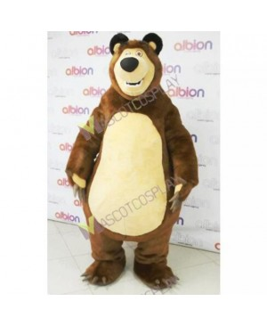 Brown Masha Bear Ursa Grizzly Mascot Costumes Bruin Cartoon Character