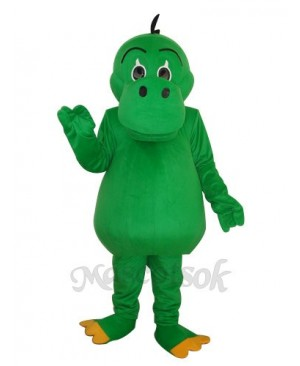 Round Mouth Green Dinosaur Mascot Adult Costume