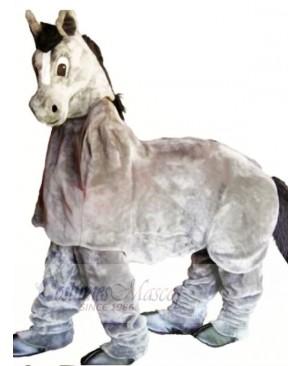 Cute Grey New 2 Person Horse Mascot Costume