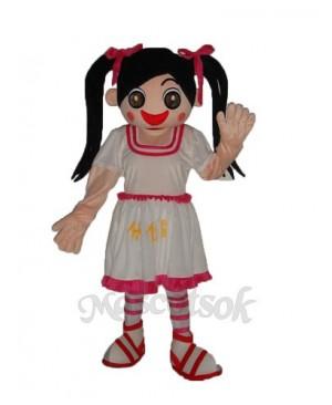 White Dress Little Girl Mascot Adult Costume