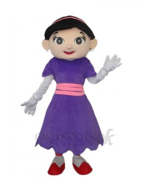 Purple Skirt Girl Mascot Adult Costume