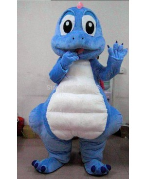 Blue Dragon Mascot Costume Cute Dinosaur Mascot