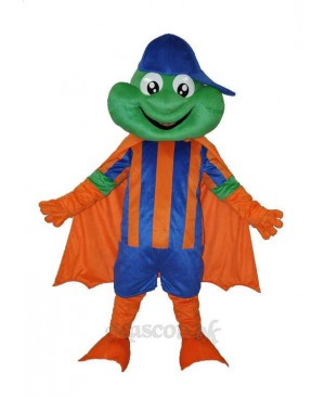 Happy Frog with Blue Hat Adult Mascot Costume