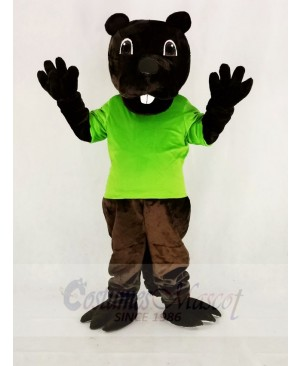 Funny Brown Barney Beaver in Green Mascot Costume Cartoon