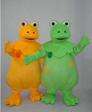 Yellow and Green Dinosaur Brothers Plush Adult Mascot Costume