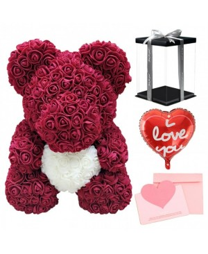 Burgundy Rose Teddy Bear Flower Bear with White Heart with Balloon, Greeting Card & Gift Box for Mothers Day, Valentines Day, Anniversary, Weddings & Birthday
