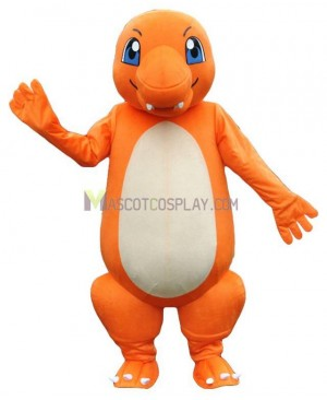 Charmander Dragon Pokemon Pokémon Go Mascot Costume with Blue Eyes
