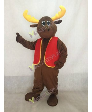 Milton Moose Mascot Costume with Red Christmas Vest