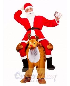 Reindeer Carry Me Mascot Costume Reindeer Carry Santa Claus Fancy Dress