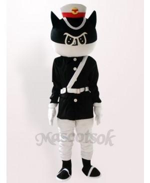 Black Cat Detective Plush Adult Mascot Costume