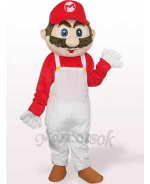Captain Mario In White And Red Clothes Plush Adult Mascot Costume