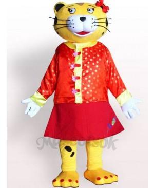 Female Leopard Plush Adult Mascot Costume