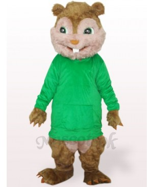Green Squirrel With Long Hair And Short Teeth Plush Adult Mascot Costume