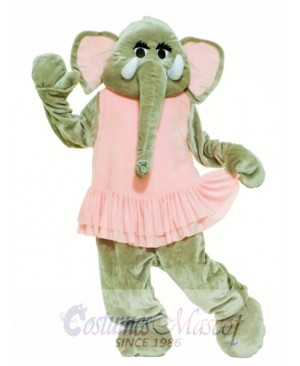 Pink Dress Elephant Mascot Costume