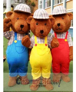 Blue/Yellow/Red Teddy Bear Cartoon Mascot Costume