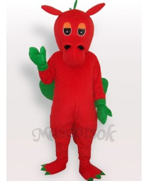 Red Dinosaur Short Plush Adult Mascot Costume