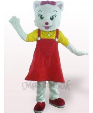 Red Female Cat Plush Adult Mascot Costume