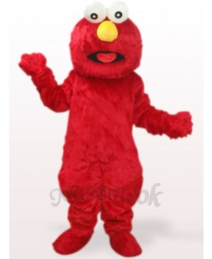 Red Long Hair Monster Plush Adult Mascot Costume