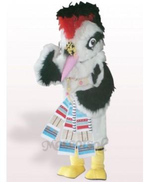 White Hair Bird Plush Adult Mascot Costume